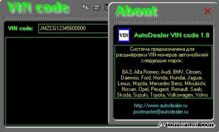 Программа для расшифровки VIN кода автомобиля: VIN Code