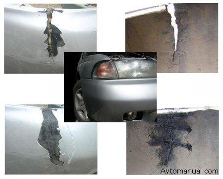 Видео по ремонту трещин бампера автомобиля своими силами.