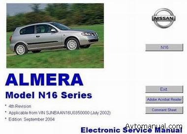Руководство по ремонту и обслуживанию Nissan Almera N16 с 2004 года