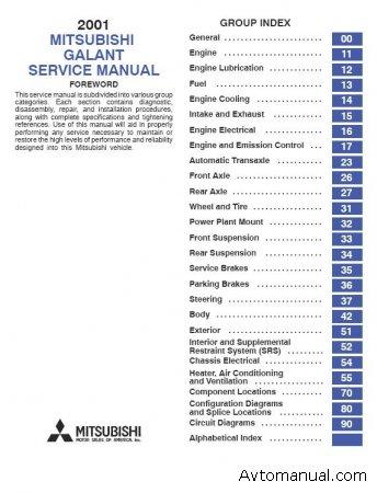 Руководство по обслуживанию Mitsubishi Galant 2001г.