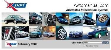Каталог запасных частей MG Rover EPC 02.2009 - 04.2009 года