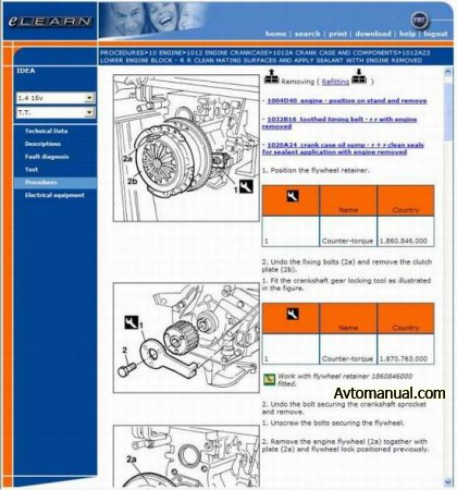 Руководство по ремонту Fiat Idea 2003 - 2007 года выпуска (eLearn)
