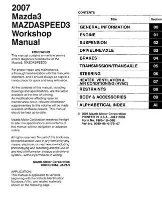 Mazda 3, Mazdaspeed3. Factory Manual.