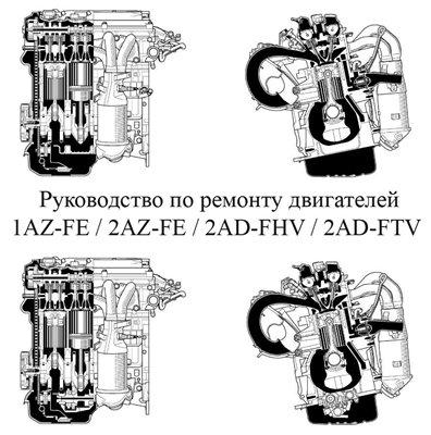 Двигатели Toyota 1AZ-FE, 2AZ-FE, 2AD-FHV, 2AD-FTV. ремонт.