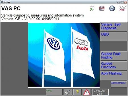 Программа диагностики Audi, VW, Skoda, Seat: VAS PC версия 19.00.00 Eng + Skoda CD версия 19.46 Eng 5.2011